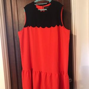 Victoria Beckham Drop Waist Scalloped Dress